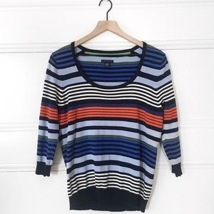 Stretch 3/4 Sleeve Striped Scoop Neck Sweater